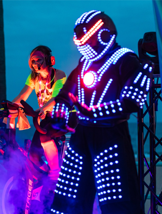 LED Robot on stilts from Ride the Nite 2019